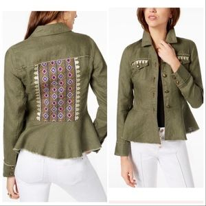 INC Womens Green Pocketed Button Down Jacket